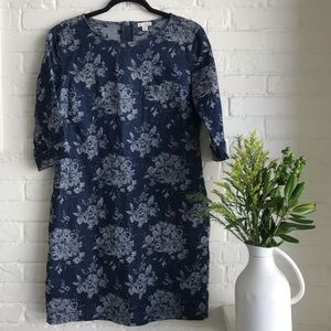 Gap jean floral dress mid length summer style 8